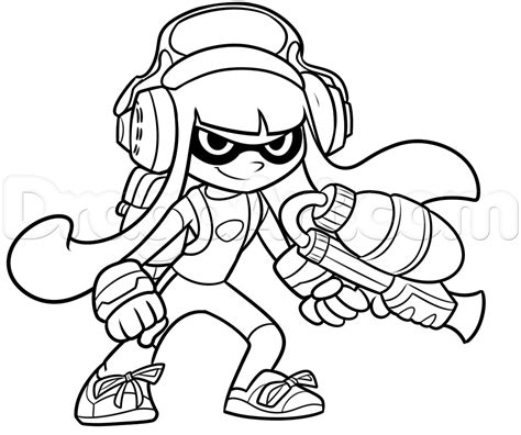 Splatoon 2 Coloring Pages by How To Draw An Inkling From Splatoon Step 10 1