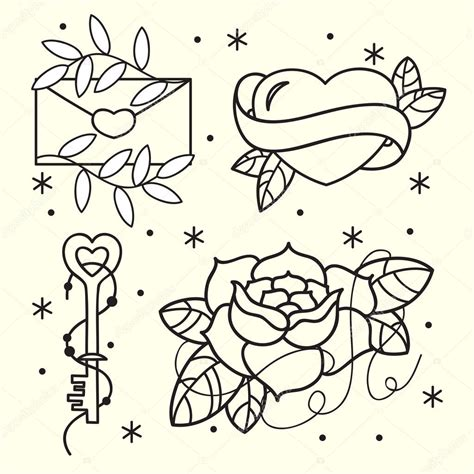 old tattoo flash pattern with roses hearts birds