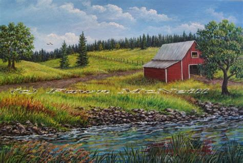 the barn landscape fawn s paintings quot near the barn quot landscape with