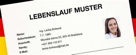 Bewerbung Absage Evidenz Muster Vzor 緇ivotopisu V Nemeckom Jazyku Kari 233 Ra V Kocke Profesia Sk