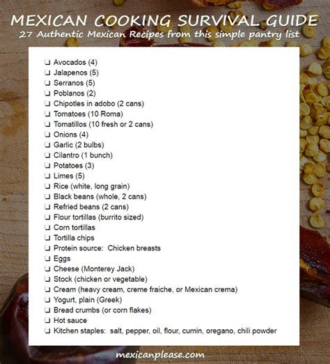 Emergency Food Pantry List by Ingredient Tips For The Mexican Cooking Survival Guide