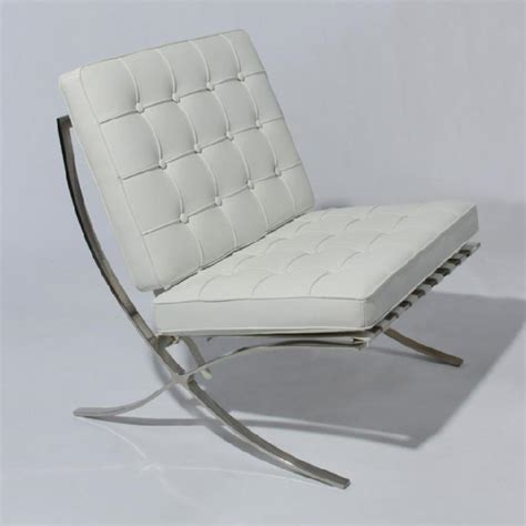 Modern White Lounge Chair by Barcelona Lounge Chair In White Leather Modern Accent Ebay