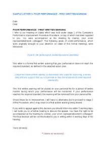 Performance Appraisal Warning Letter Best Photos Of Written Warning For Poor Performance Poor Performance Warning Letter Sle