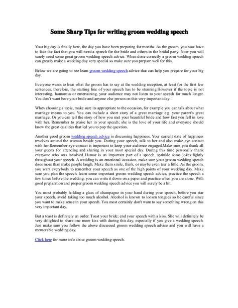 Some Sharp Tips For Writing Groom Wedding Speech Groom Speech Template