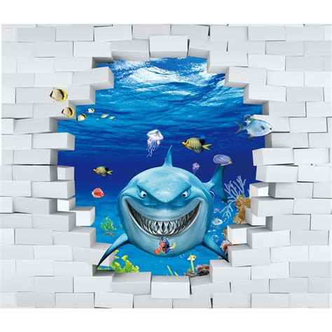 Wallpaper Cermin ikan hiu 3d anak wallpaper cermin kertas negara dinding