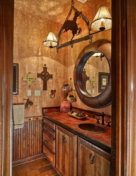Western Bathroom Ranch Guest Bath Rustic Bathroom Dallas By Usi