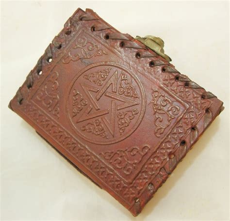 Handmade Leather Book - handmade leather pocket journal mini diary pentagram