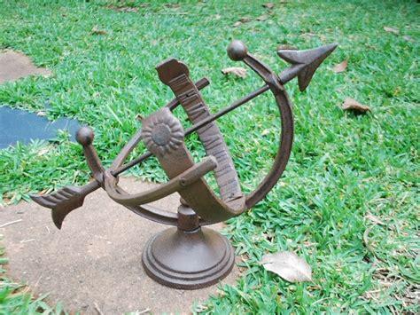 Cast Iron Garden Decor Cast Iron Equatorial Bow Sundial Garden Decor Rustic Brown Ebay