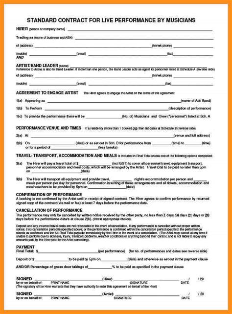 9 entertainment contract template parts of resume
