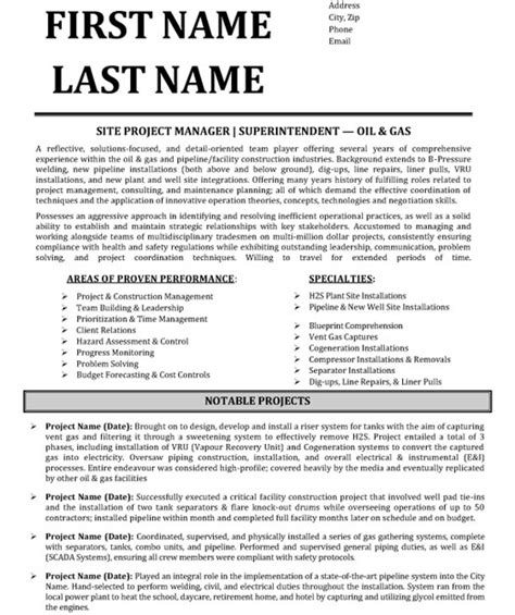 sle resume for project manager sle resume for construction project manager 28 images