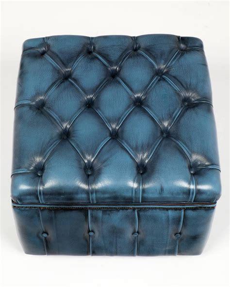 Vintage Storage Ottoman Vintage Steel Blue Leather Chesterfield Storage Ottoman At 1stdibs