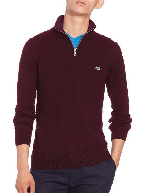 Sweater Pusple Maroon Lt Babyterry Maroon lacoste quarter zip cotton sweater in purple for lyst