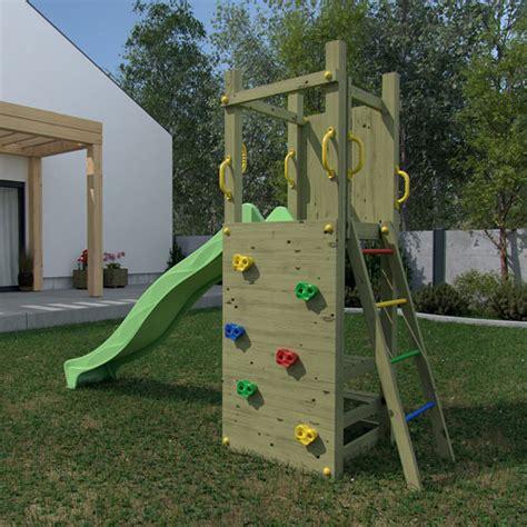toboggan enfant jardin portique en bois pour enfants avec toboggan vert