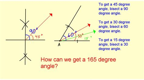 Drawing 60 Degree Angle by Construct A 165 Degree Angle