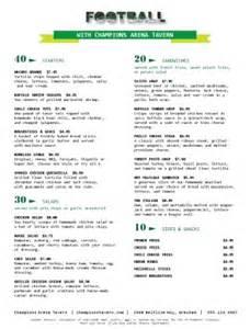 Football Menu Templates by Football Restaurant Menu Sports Bar Menus