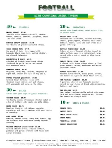 football menu templates football restaurant menu sports bar menus