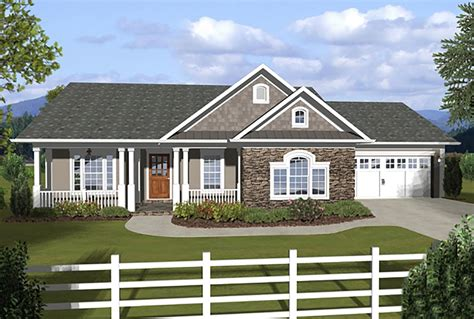 covered porch house plans 3 bedroom ranch with covered porches 20108ga 1st floor