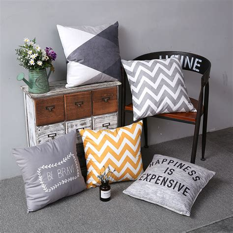 double side print chevron pillow cover grey cushion cover
