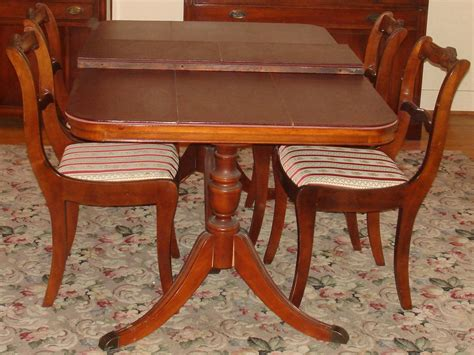 Duncan Phyfe Dining Room Chairs Bernhardt Duncan Phyfe Mahogany Dining Room Set Pedestal Table 4 Chairs Leaf Pads