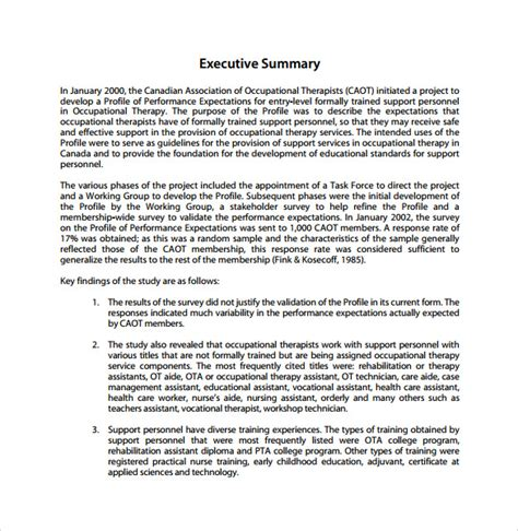 executive summary report template free summary report template 8 free sles exles format