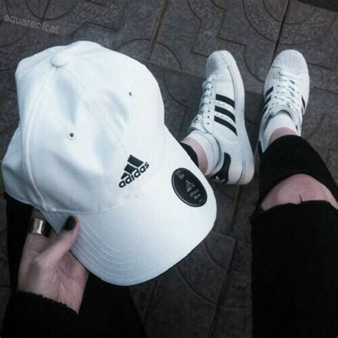 7ldress Adidas hat adidas shoes adidas shoes adidas hat black white fashion grunge nails