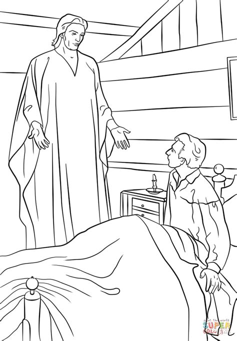 coloring page of angel and joseph moroni appears to joseph smith in his room super coloring