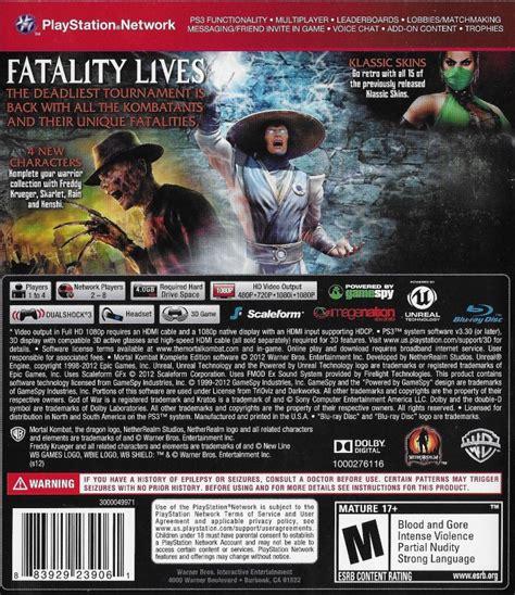 Mortal Kombat Komplete Edition Ps3 mortal kombat komplete edition box for playstation 3 gamefaqs