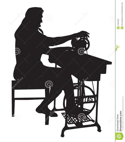 Chair Silhouette Grandmother Silhouette With An Old Sewing Machine Stock