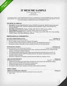 It Resumes Templates by Information Technology It Resume Sle Resume Genius