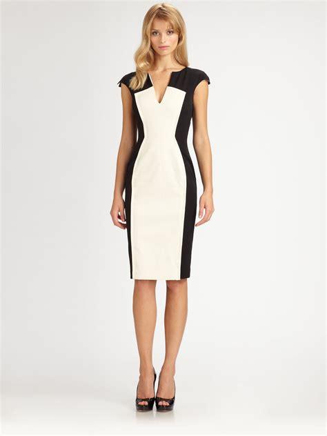 color block dresses black halo colorblock dress in white lyst