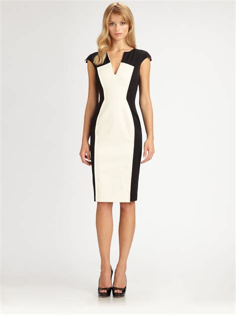Black halo Colorblock Dress in White   Lyst