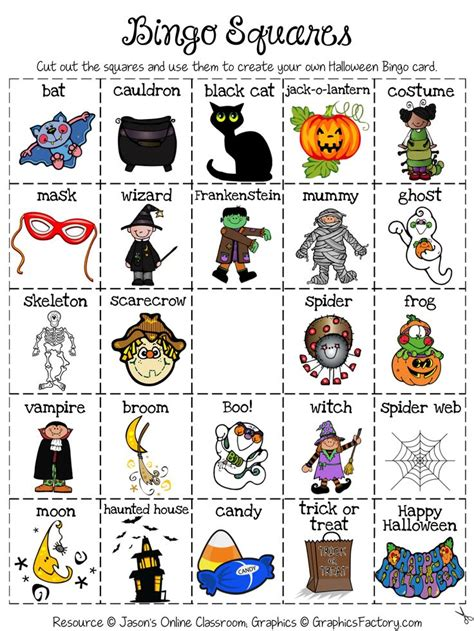 ghost bingo card template social skill activities festival collections