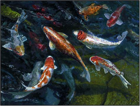paul wolber studio emerald rhythms koi pond on classical realism vibrant color