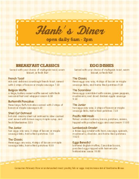 cover layout of american breakfast american breakfast menu breakfast menus