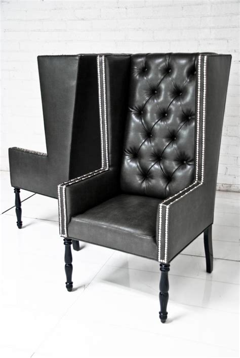 Www roomservicestore com ultra tall mod wing dining chair in faux black leather