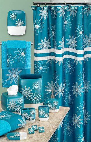 turquoise and purple bathroom popular bath daisy stitch accessory set turquoise blue