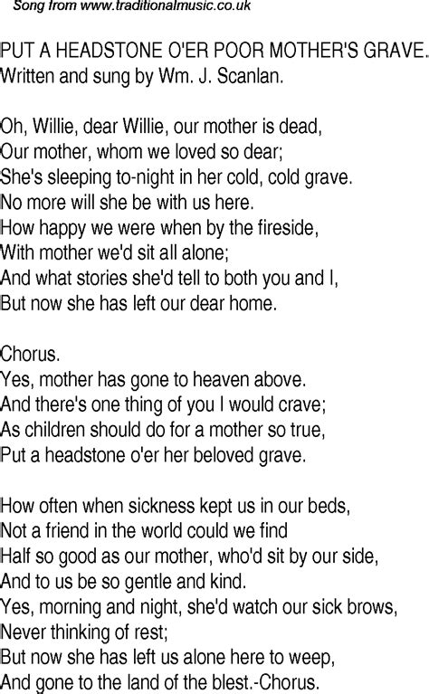 Old Time Song Lyrics for 22 Put A Headstone Oer Poor