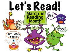 themes for march is reading month reading poster in fun design quot let s read quot monsters hold