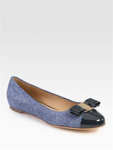 navy shoes flats ferragamo stingray print leather and patent leather ballet