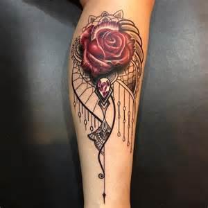 elegant ornamental rose amp jewel best tattoo design ideas