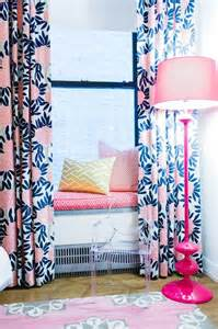 pink and navy curtains window seat contemporary s room l kate