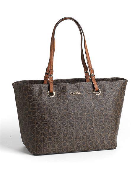 calvin klein monogram leather tote bag  brown brown