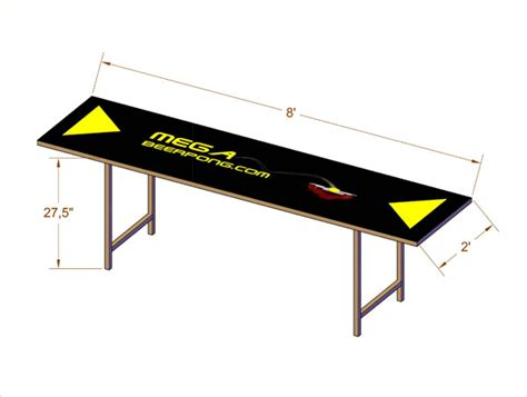 Pong Table Height by Pong Table Dimensions Mega Pong
