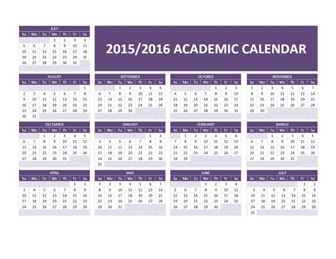 2015 And 2016 Calendars 2015 2016 Academic Calendar Templates
