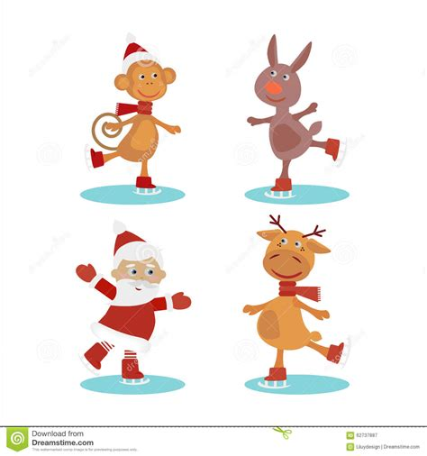 christmas animals animated set of characters vector illustration stock illustration image 62737887