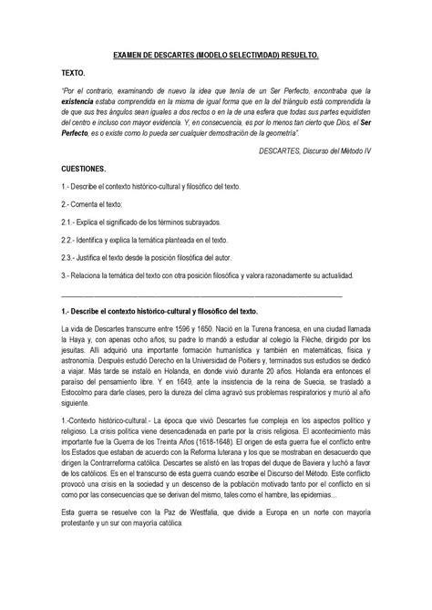 modelo de examen de selectividad resuelto descartes texto modelo de examen de selectividad resuelto descartes texto