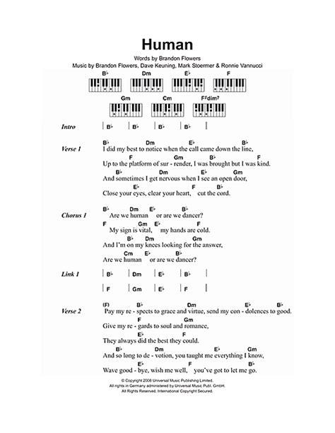 lyrics and piano chords human sheet by the killers lyrics piano chords