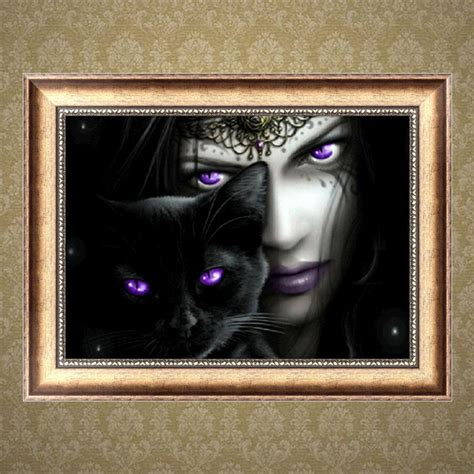 diy cat painting diy 5d embroidery black cat painting cross stitch