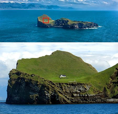 house on an island this is not an optical illusion there s only a single house on this entire island