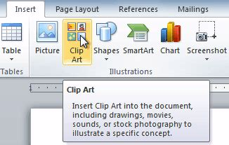 clipart office 2010 word 2010 inserting clip and pictures